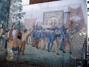 The mural showing the Martyr's at the Copenhagen St entrance to Edward Square. The mural is threatened with destruction as The Mitre pub on whose wall it it sited is up for sale.